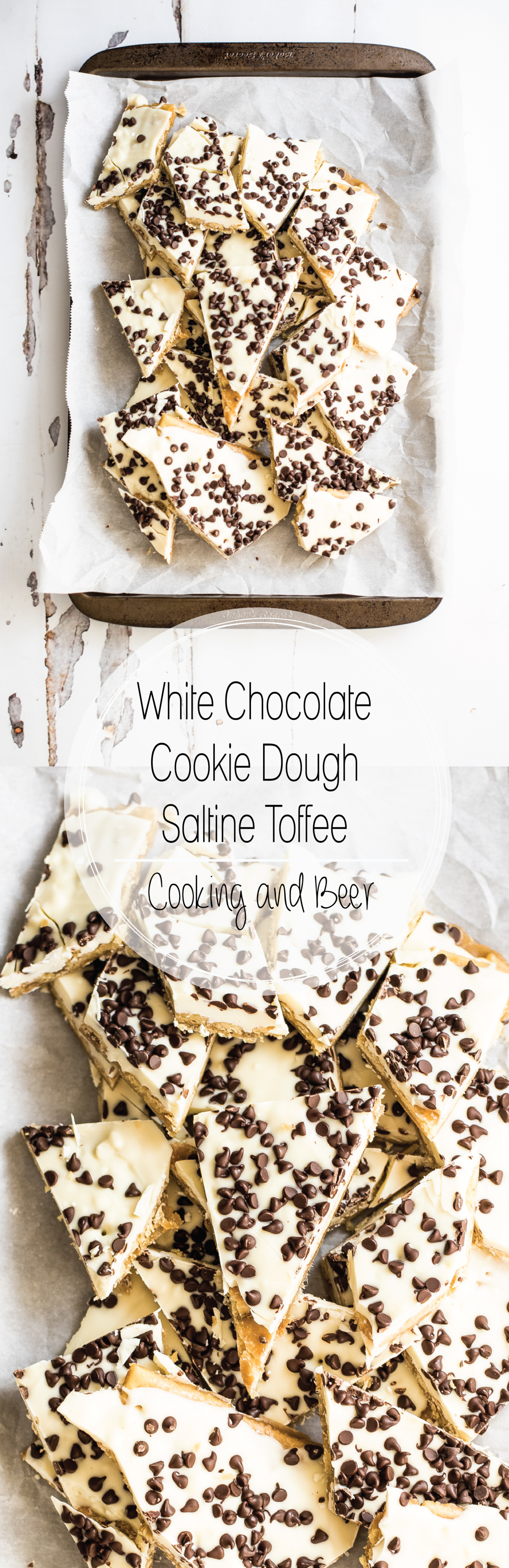 White Chocolate Cookie Dough Saltine Toffee is a fun and sweet treat for the holidays. It is perfect for gift giving or holiday cookie boards!