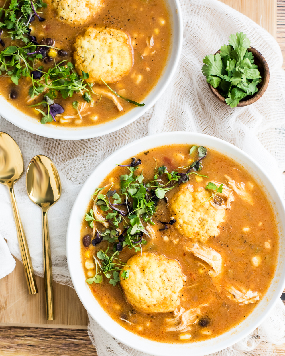 Southwestern chicken soup with cornmeal dumplings is a fun take on traditional chicken soup and dumpling with a spicy twist!