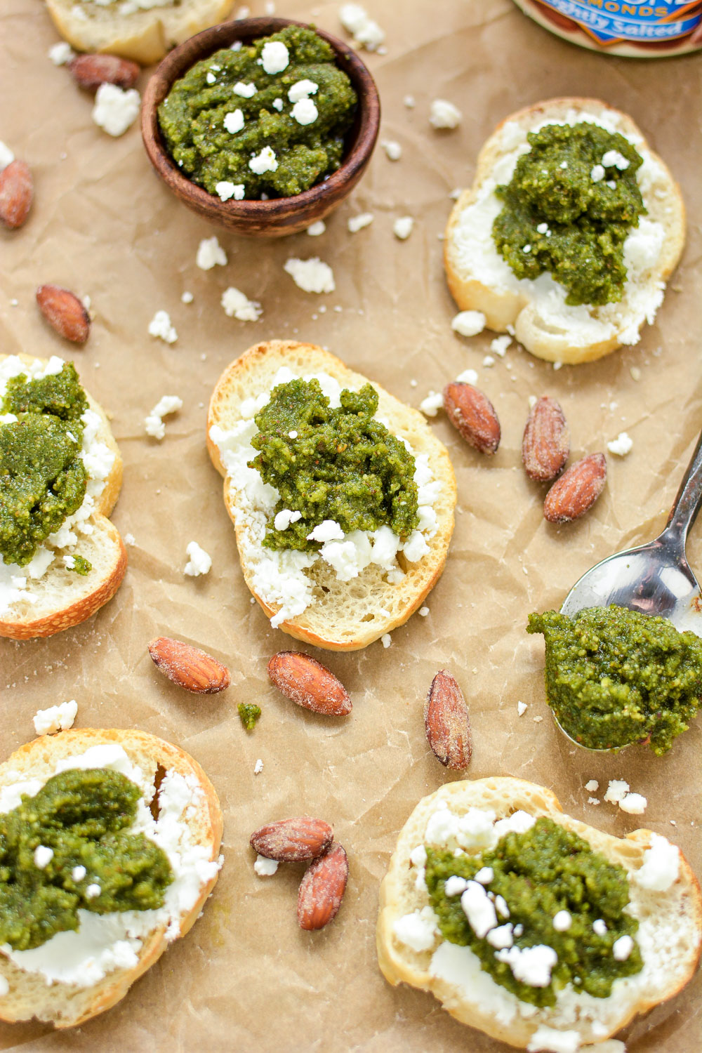 Almond Pesto and Goat Cheese Crostini: the perfect appetizer ...