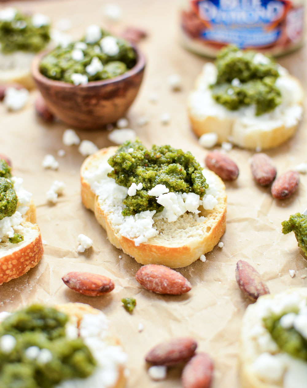 Almond Pesto and Goat Cheese Crostini: the perfect appetizer highlighting fresh herbs and almonds!