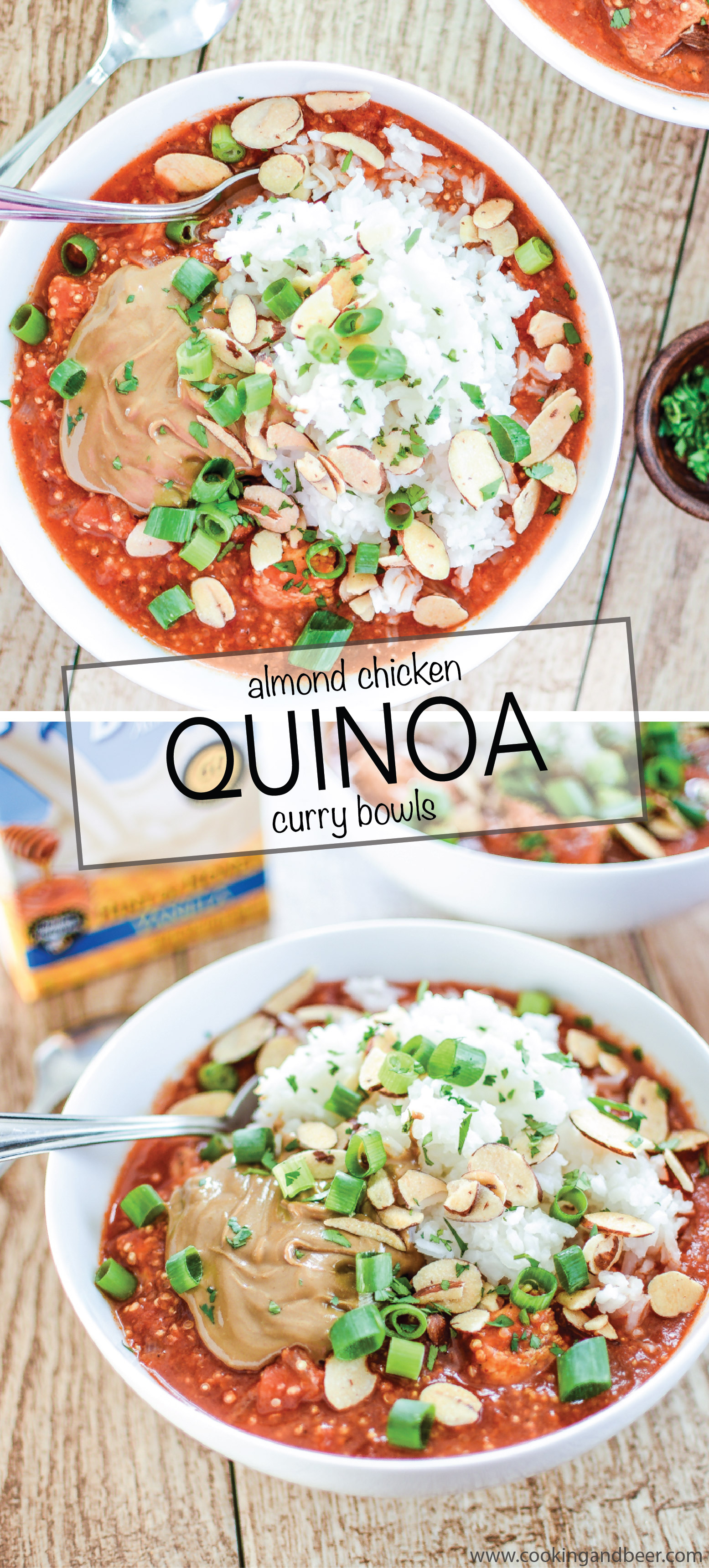 Almond Chicken Quinoa Curry Bowls is a weeknight dinner recipe to get excited about! | www.cookingandbeer.com