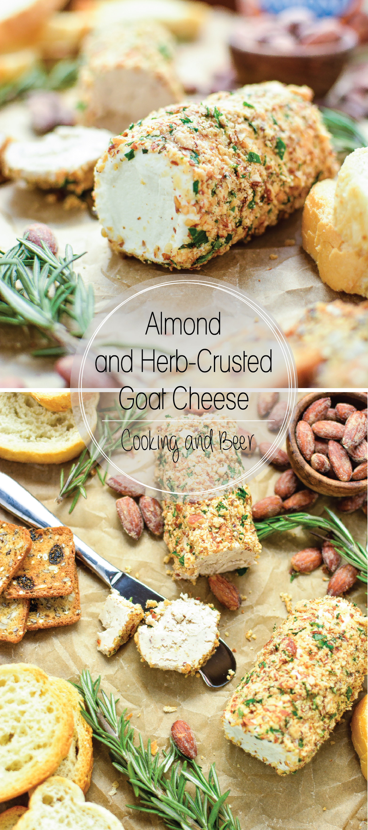 Almond and Herb Crusted Goat Cheese: the perfect snack to serve at your next gameday party!