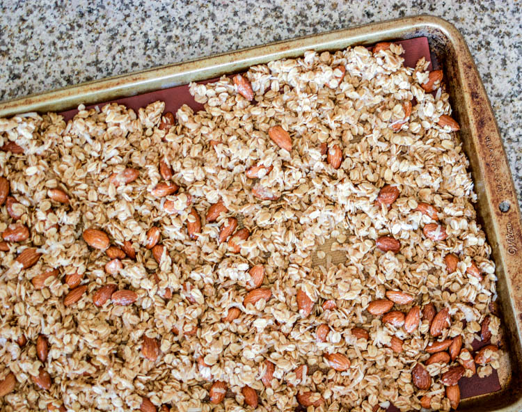 Homemade Coconut Almond Granola with Dark Chocolate Chunks Recipe for breakfast, lunch, dinner or snack! | www.cookingandbeer.com