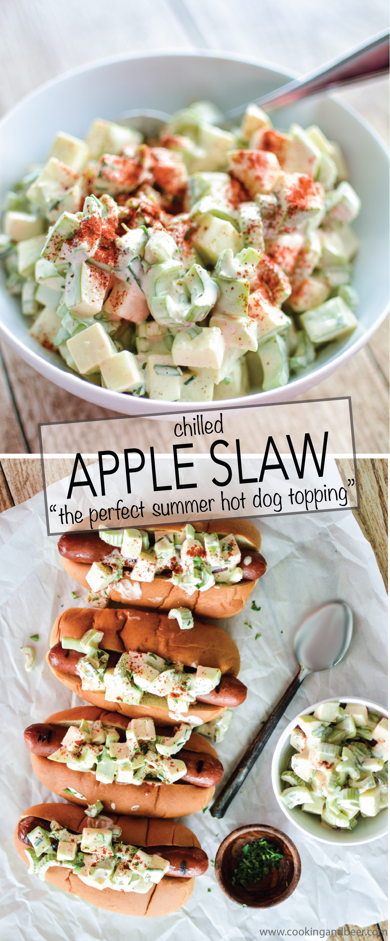 Chilled apple slaw recipe makes for the perfect topping on a summer hot dog! | www.cookingandbeer.com