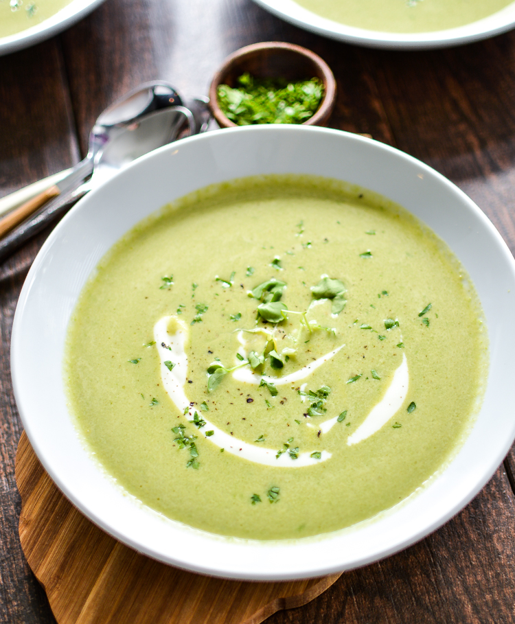 This vegan Creamy Asparagus and Watercress Spring Pea Soup highlights the vibrant flavors of spring in a simple, yet delicious recipe!   www.cookingandbeer.com