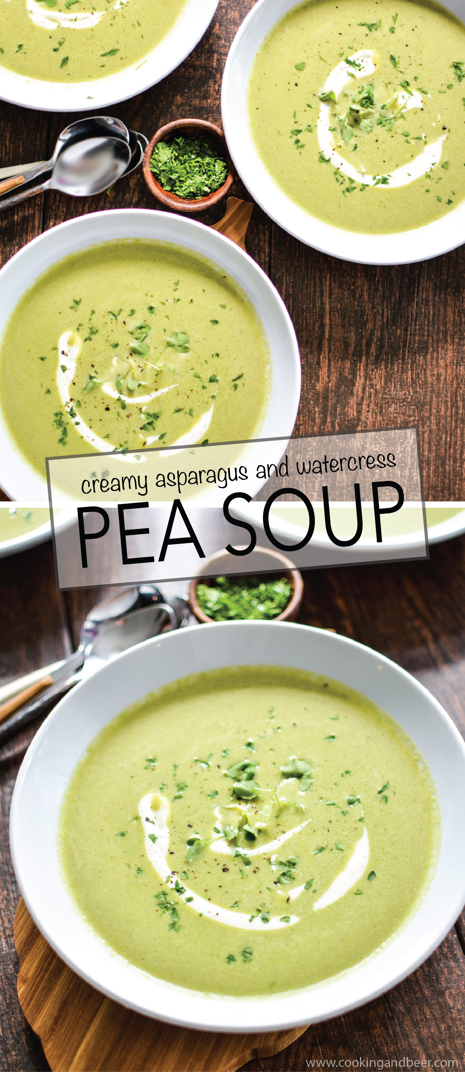 This vegan Creamy Asparagus and Watercress Spring Pea Soup highlights the vibrant flavors of spring in a simple, yet delicious recipe! | www.cookingandbeer.com