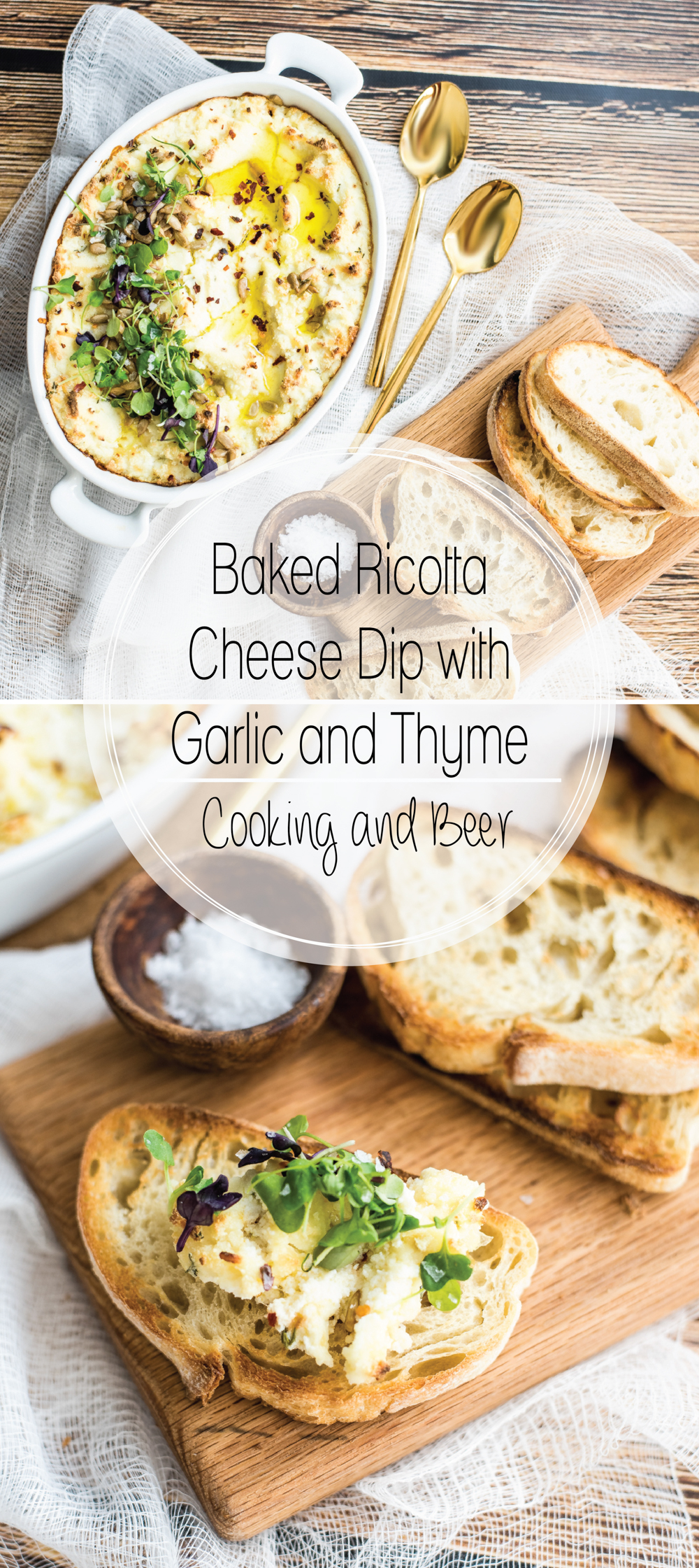 Baked ricotta cheese dip with garlic and thyme is the perfect simple and quick appetizer recipe. It's great served at a dinner party or a game day shindig!