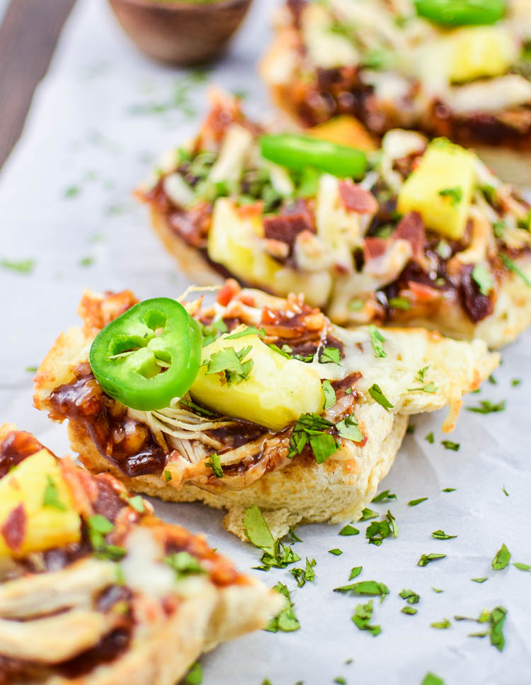 BBQ Chicken and Pineapple French Bread Pizzas | www.cookingandbeer.com