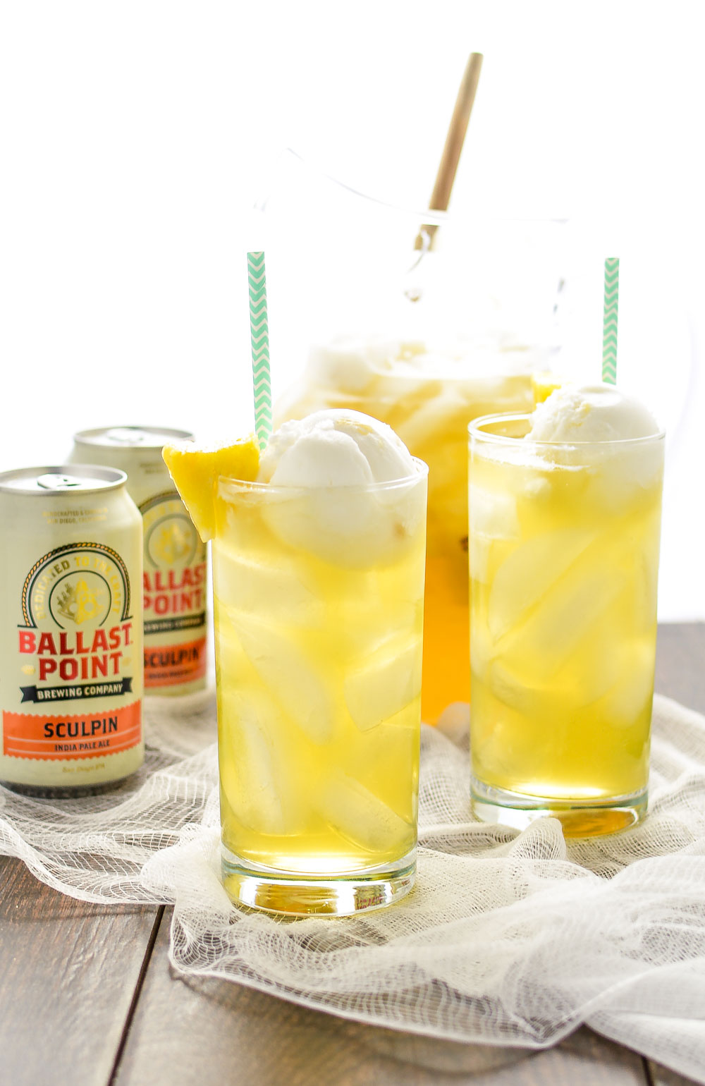 Tropical Pineapple Beer Party Punch is the perfect drink to serve at your next summer party, picnic, or barbecue!