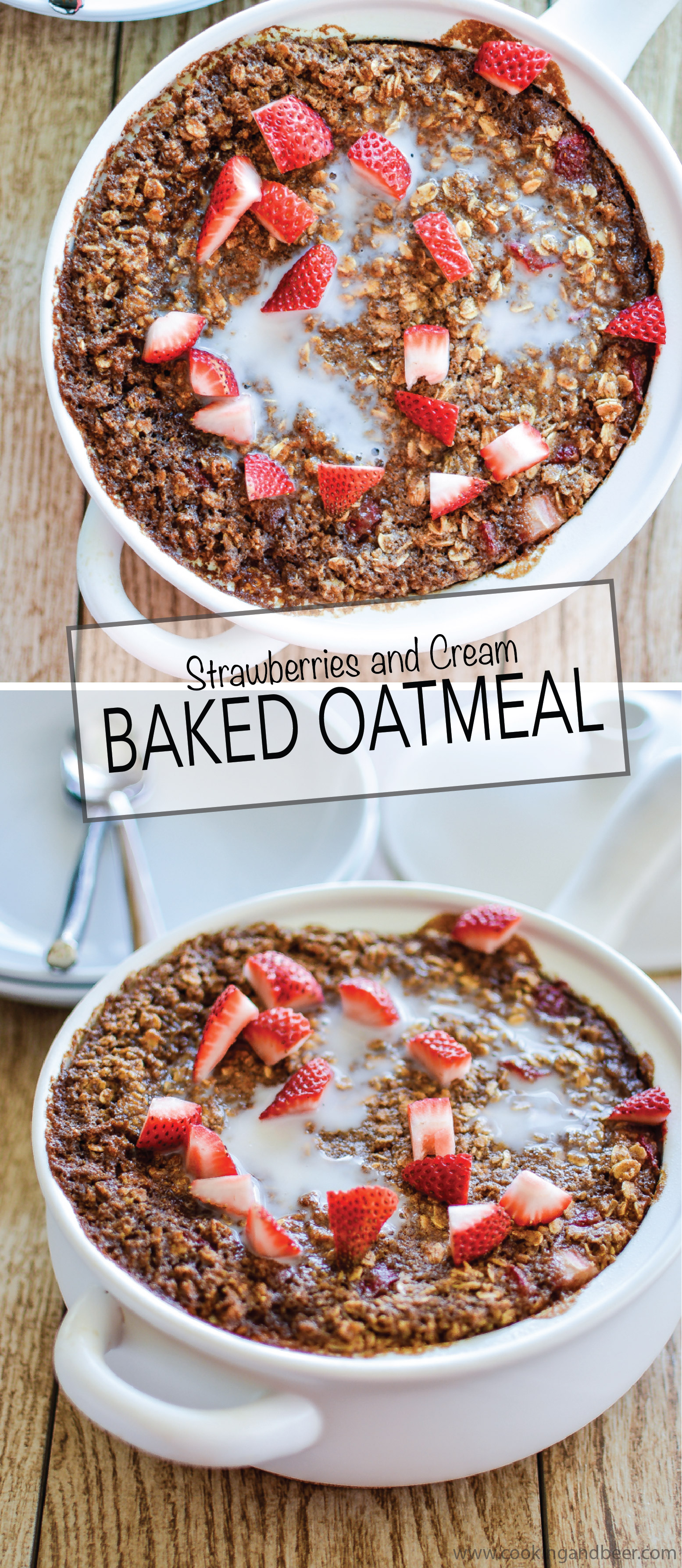 Strawberries and Cream Baked Oatmeal is a quick and delicious breakfast or brunch recipe! | www.cookingandbeer.com