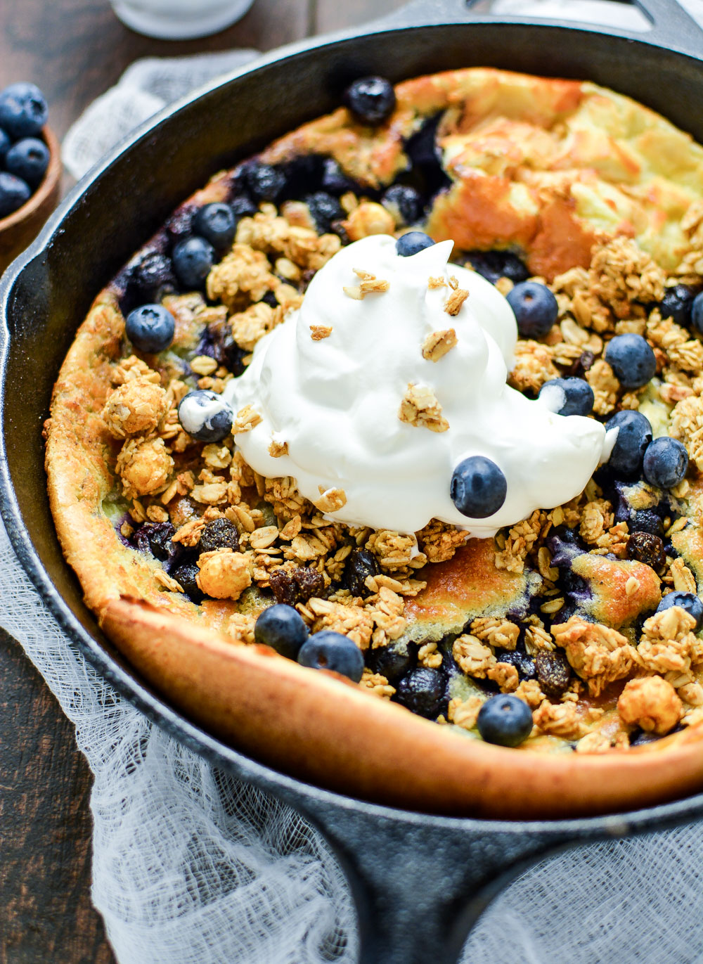 Buttermilk Blueberry Dutch Baby with Lemon Crema