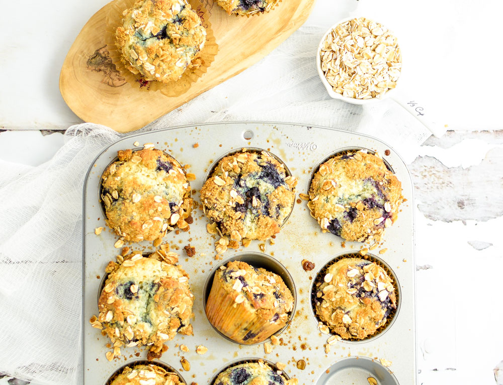 Blueberry Sour Cream Oat Crumble Muffins are the perfect sweet treat and quick breakfast solution!