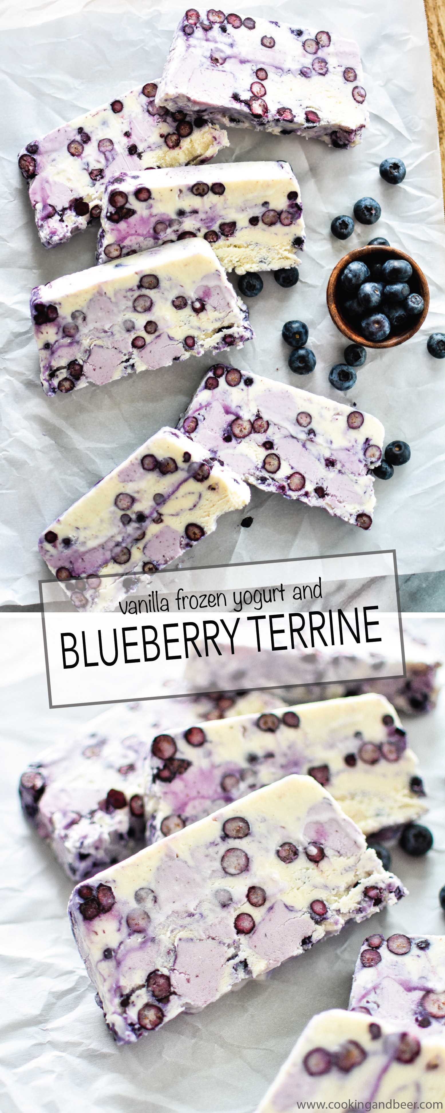 Vanilla Frozen Yogurt and Blueberry Terrine is the dessert recipe you NEED to serve this summer! | www.cookingandbeer.com