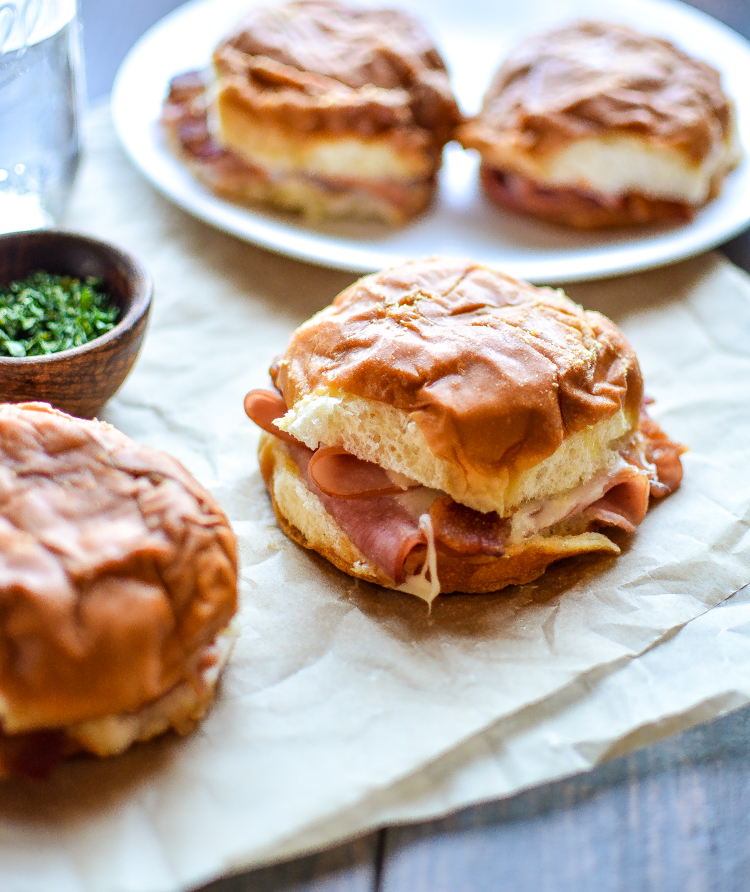 Baked Ham and Cheese Sandwiches with Spicy Mustard are melty, delicious and perfect for a quick lunch, game-day finger food, or dinner entree recipe!