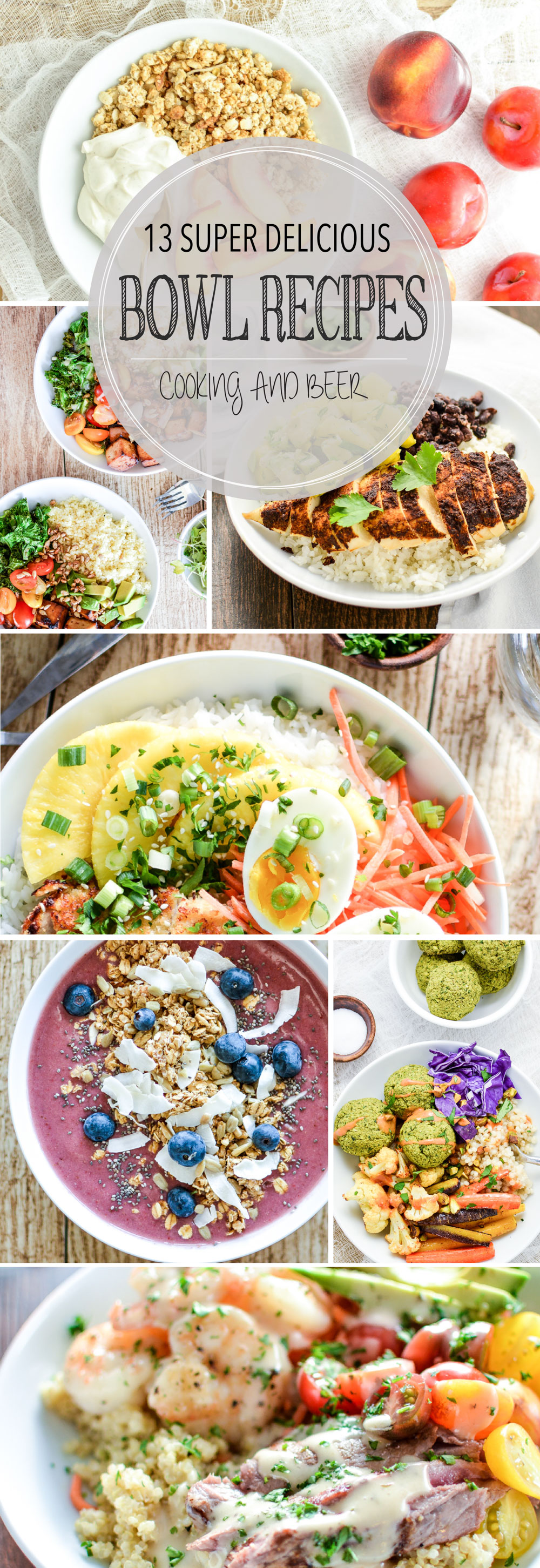 From smoothie bowls to rice bowls, here are 13 super delicious bowl recipes perfect for breakfast, lunch or dinner!