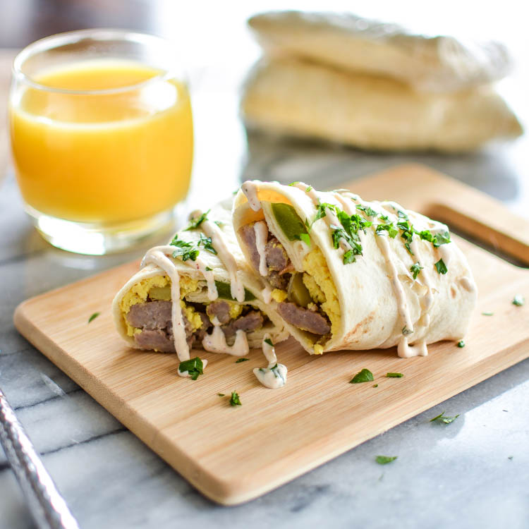 Make-Ahead, Freezer-Friendly Breakfast Burritos with Sausage, Peppers and Cheese! | www.cookingandbeer.com