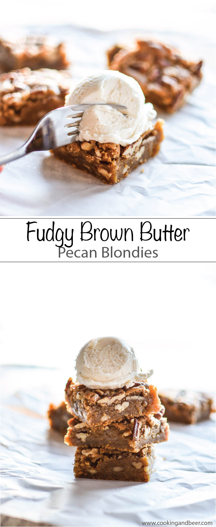 The perfect dessert: These Fudgy Brown Butter Pecan Blondies are the perfect sweet treat!  | www.cookingandbeer.com