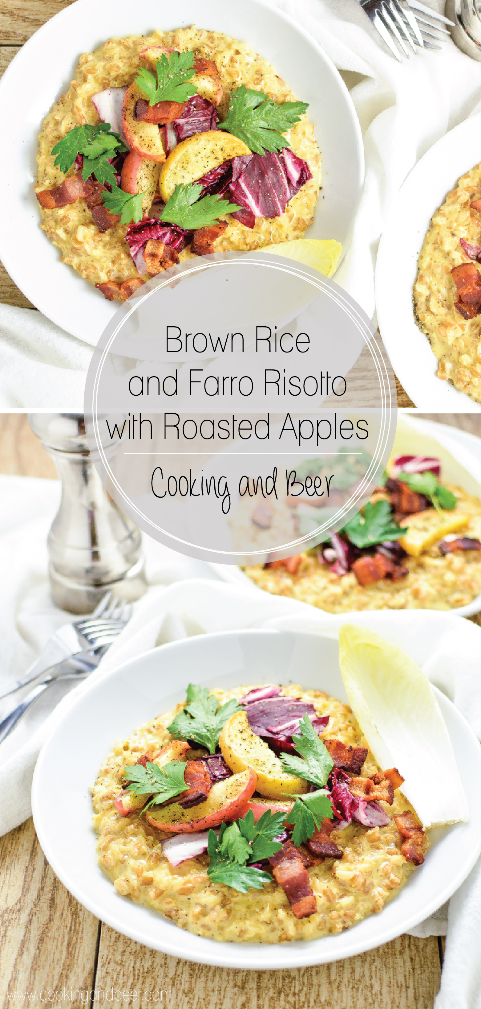 Brown Rice and Farro Risotto with Roasted Apples is a comforting dinner recipe to celebrate fall flavors!