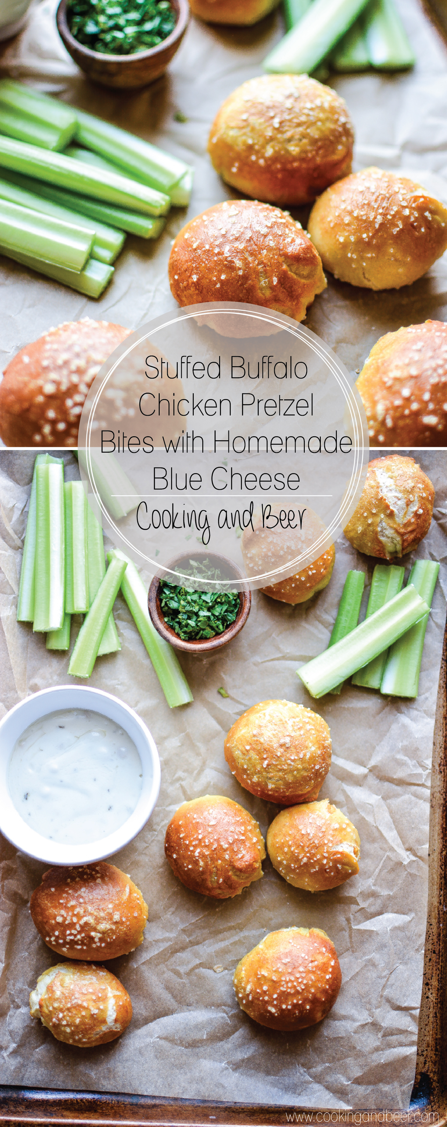 Stuffed Buffalo Chicken Pretzel Bites with Homemade Blue Cheese: a bite-sized appetizer recipe that's perfect for game day!