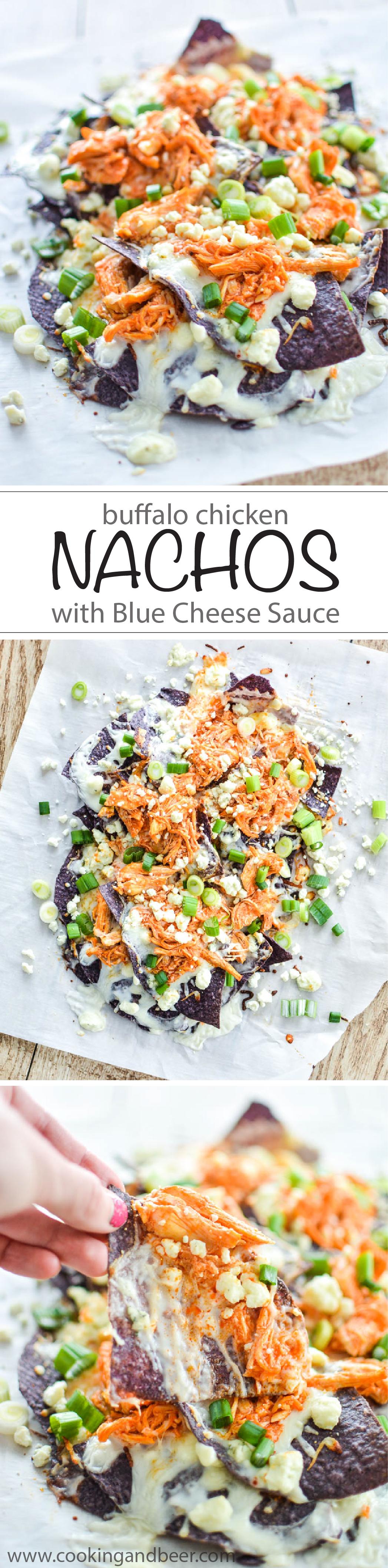 Buffalo Chicken Nachos with Blue Cheese Sauce   www.cookingandbeer.com