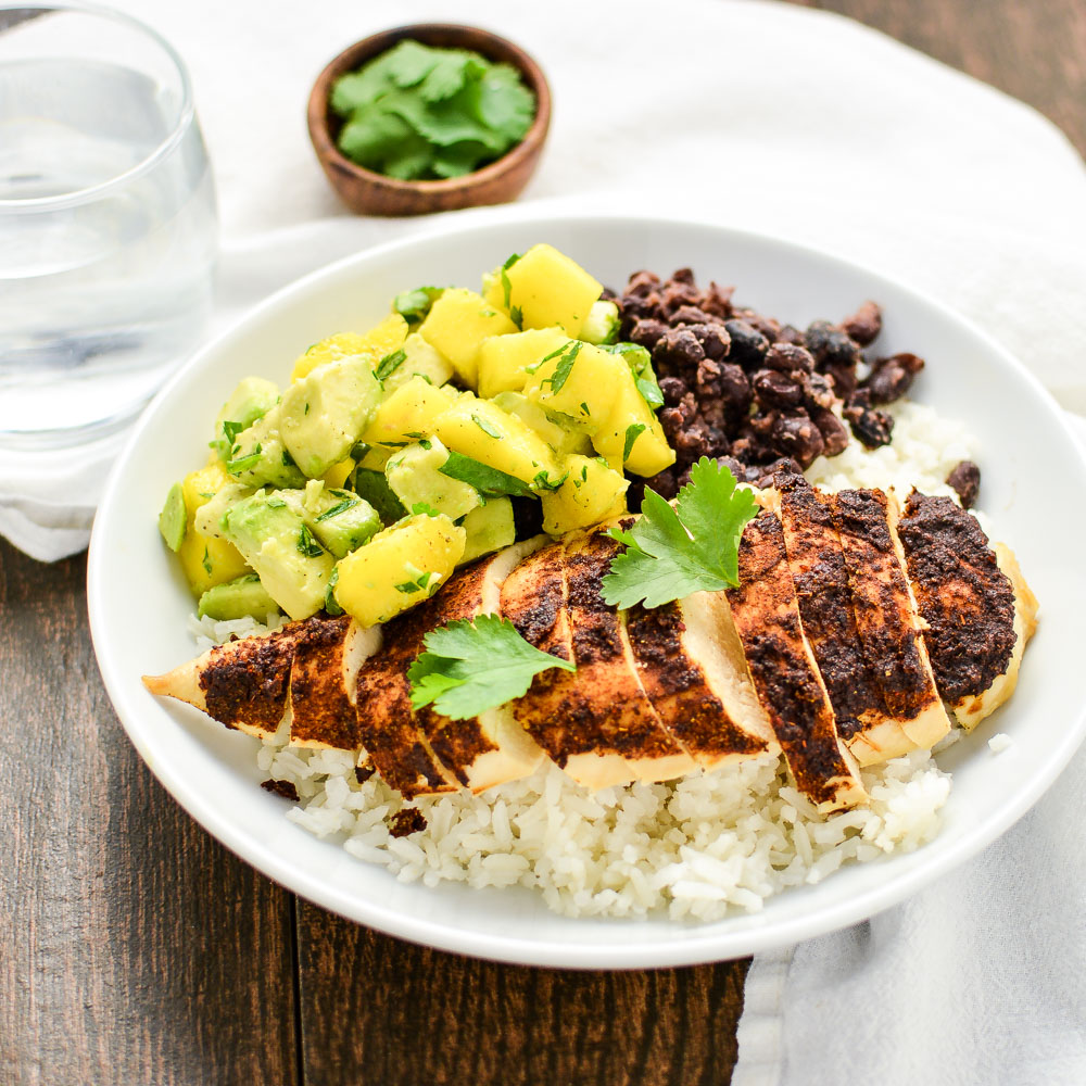 Jerk seasoned chicken and caribbean rice bowls jerk seasoned chicken and caribbean rice bowls is a light yet hearty weeknight dinner forumfinder Images