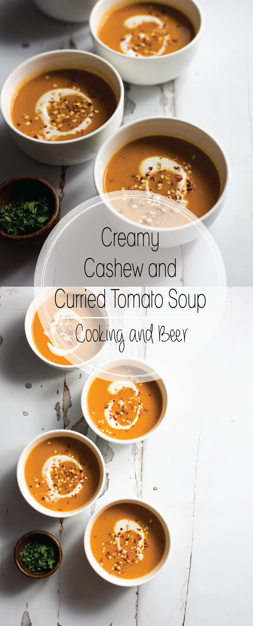 Creamy Cashew and Curried Tomato Soup is a fun variation of classic creamy tomato soup. Serve it with a grilled cheese sandwich and get excited for dinner!