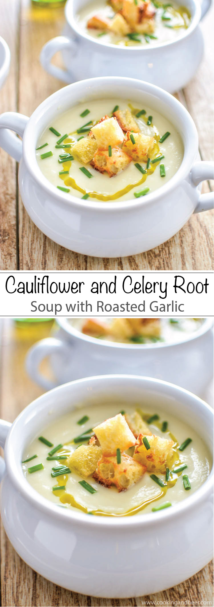 ... and Celery Root Soup with Roasted Garlic. | www.cookingandbeer.com