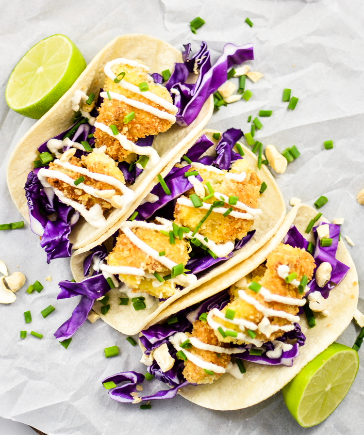 Crispy Cauliflower Tacos with Cashew Cream | www.cookingandbeer.com