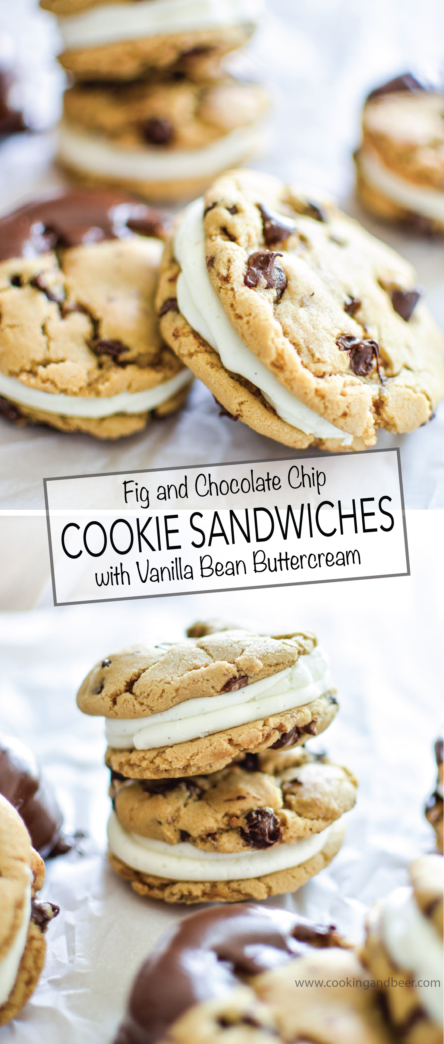 Fig and Chocolate Chip Cookie Sandwiches with Vanilla Bean Buttercream are a fun twist on a dessert classic! | www.cookingandbeer.com