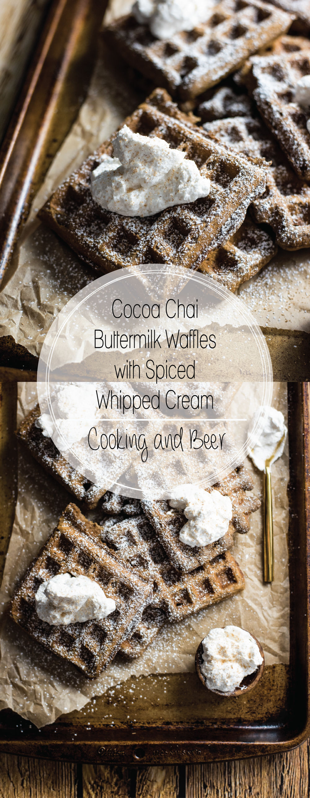 Cocoa chai buttermilk waffles with spiced whipped cream are the perfect weekend brunch recipe! They are comforting and delicious!