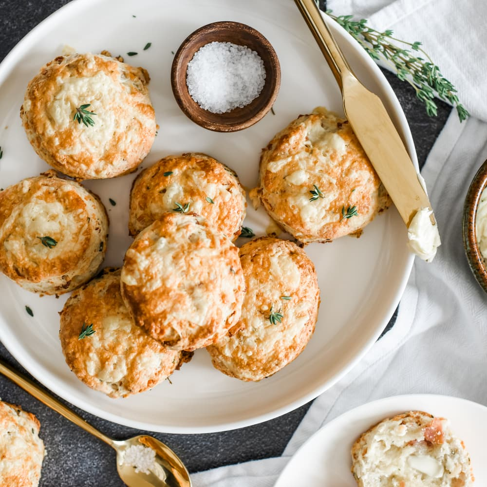 Bacon and Cheddar Scones with Cultured Butter