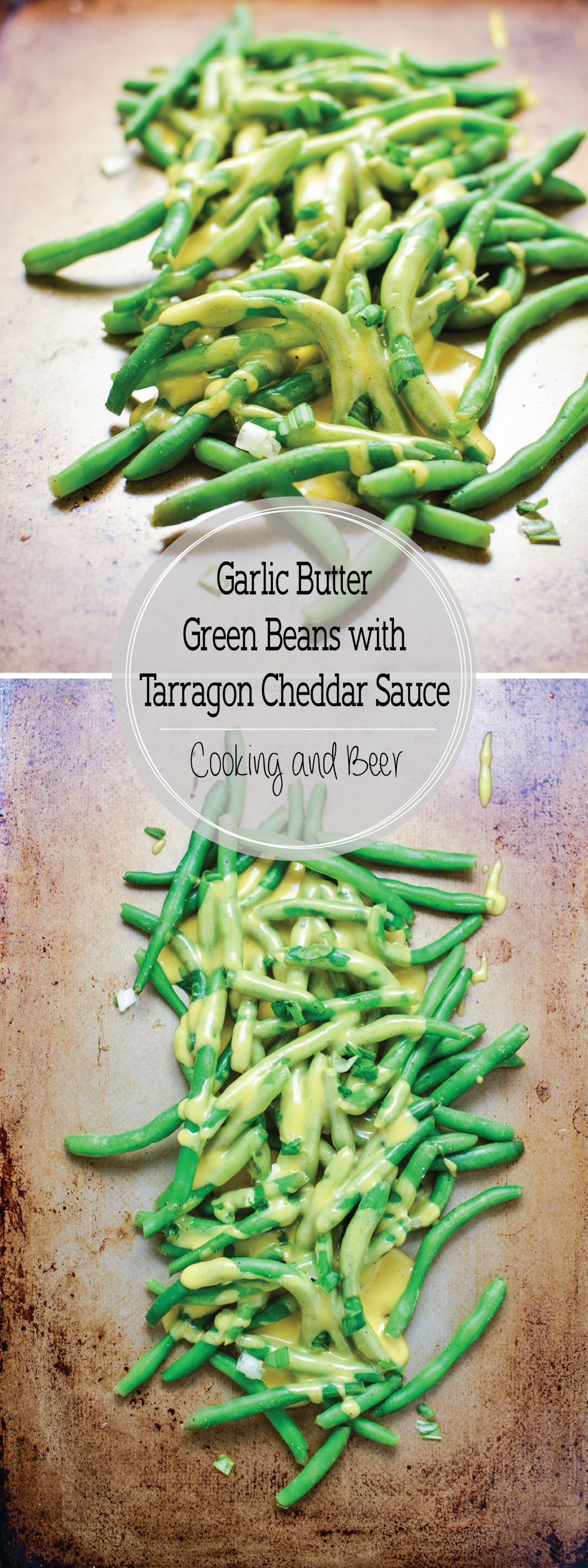 Garlic Butter Green Beans with Tarragon Cheddar Cheese Sauce are the perfect simple yet delicious side dish recipe for your Easter or Mother's Day spreads!