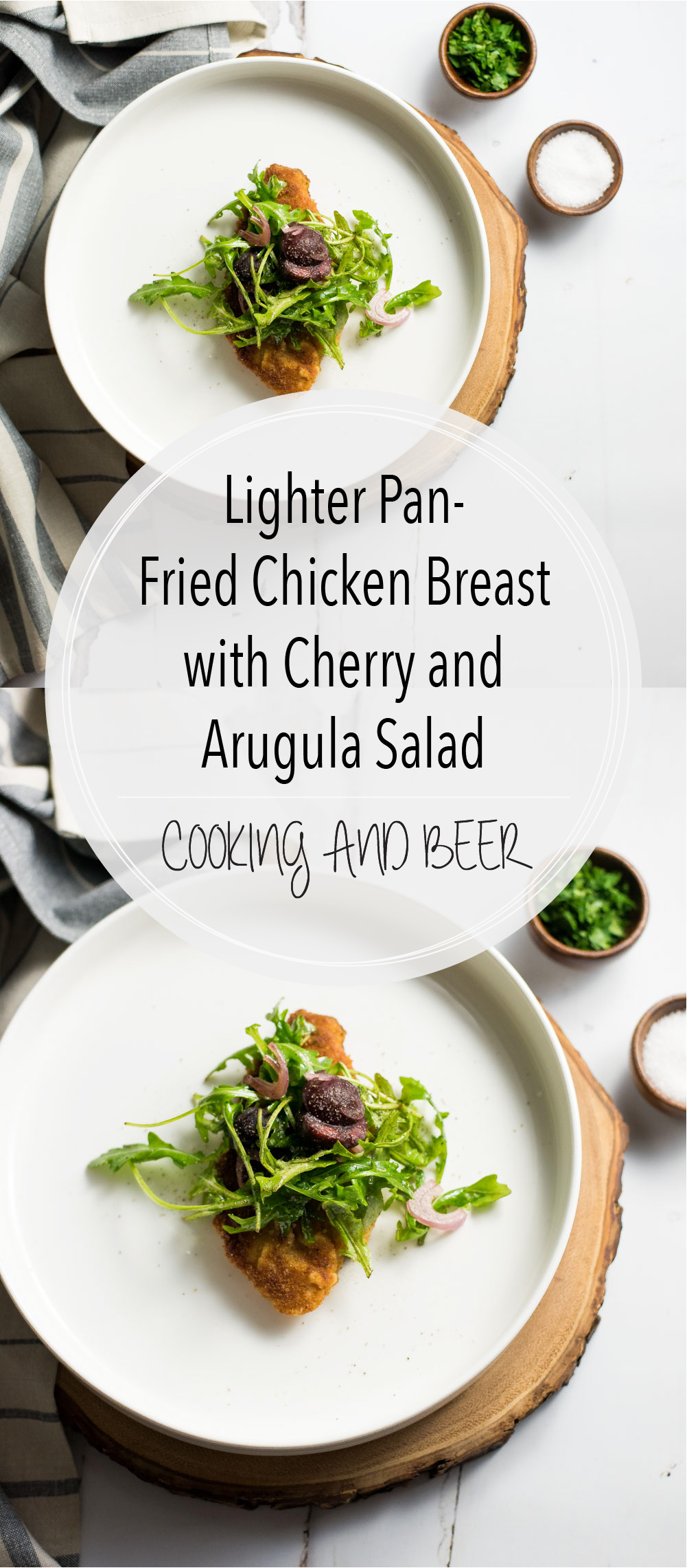 Lighter pan-fried chicken breast with cherry and arugula salad is the perfect weeknight meal that is light, nutritious, and delicious!