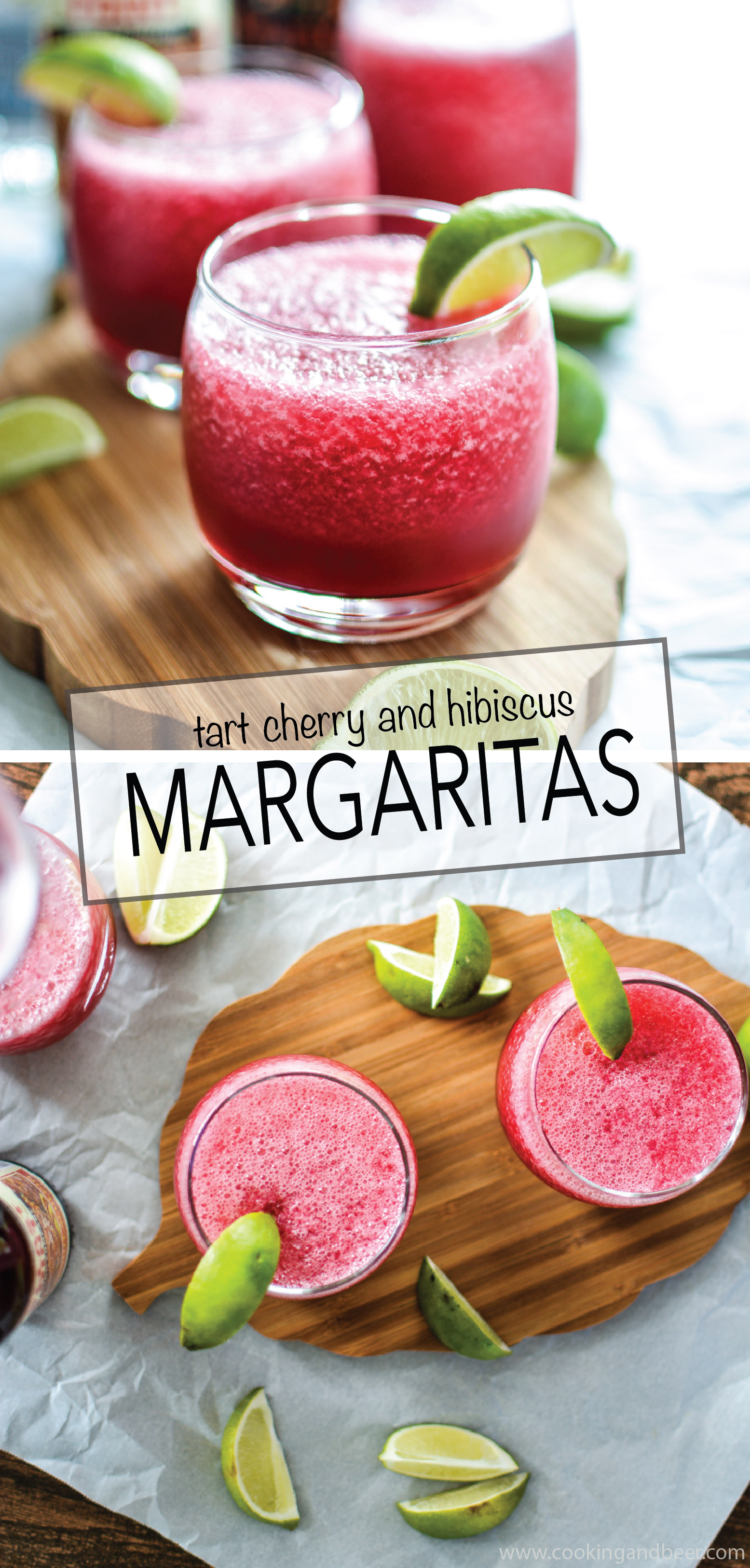 Your summer needs some Tart Cherry and Hibiscus Beer Margaritas in it! | www.cookingandbeer.com