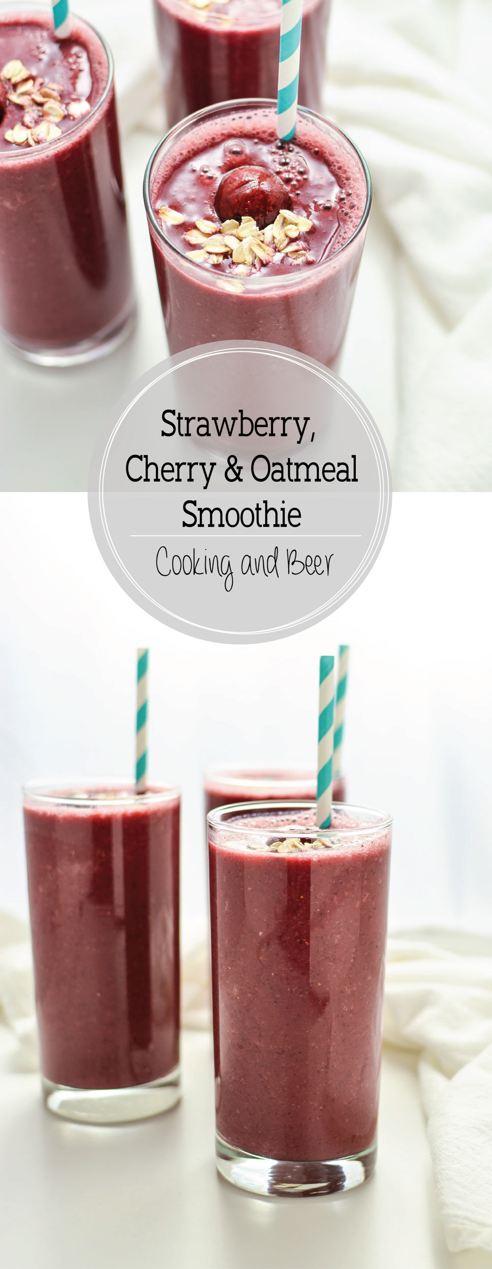 Strawberry Cherry Oatmeal Smoothies are hearty and filling, making them the perfect quick breakfast solution!