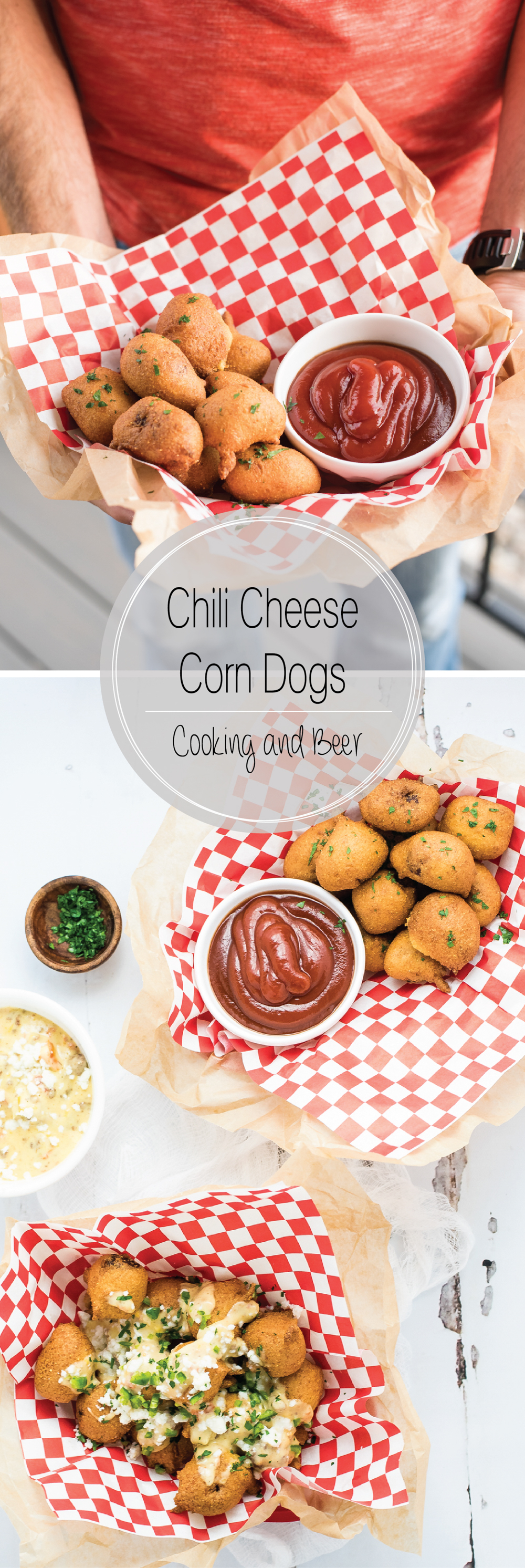 Chili cheese corn dogs are a fun twist on the classic finger food. They are bite-sized morsels that are smothered in a homemade beef queso!