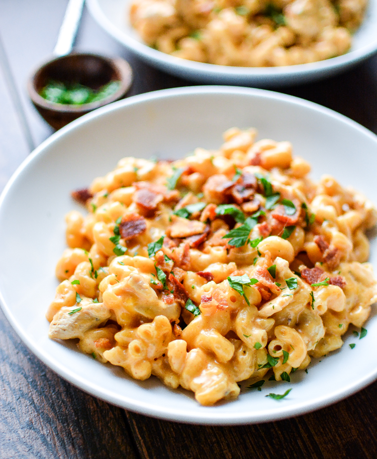 Stovetop Mac and Cheese with Bacon and Chicken Recipe: a super cheesy, one-pot meal that's perfect for a weeknight!