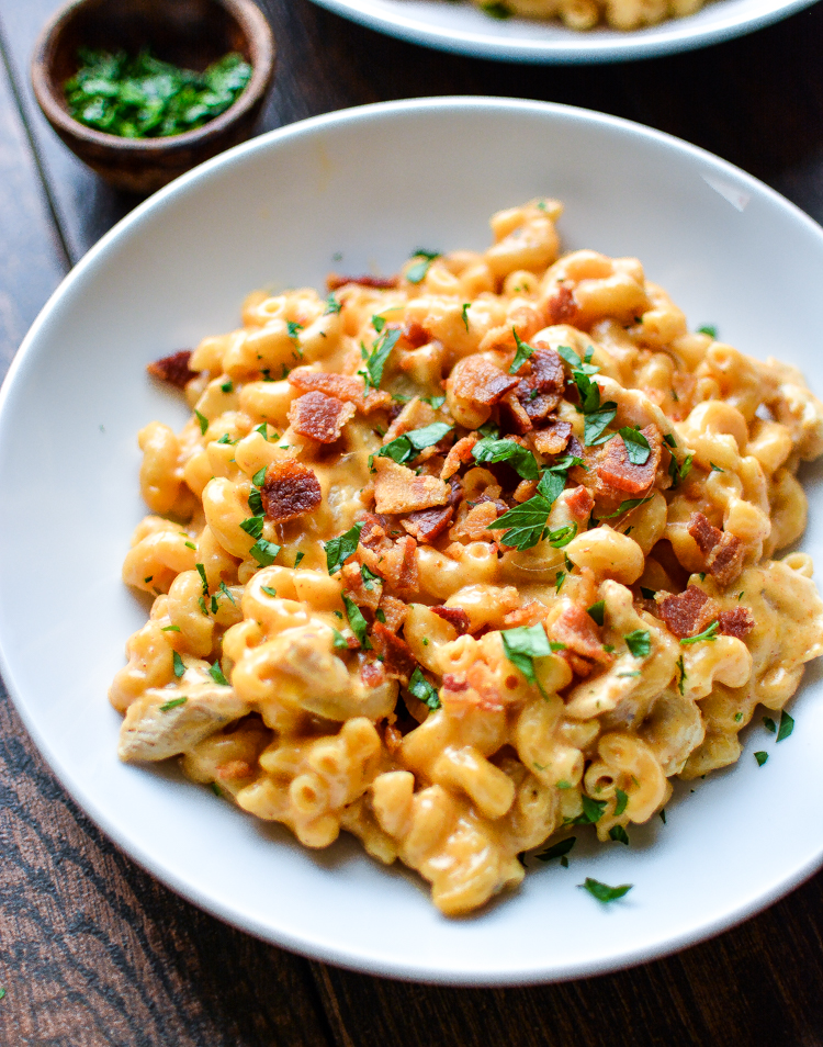 Stovetop Mac and Cheese with Bacon and Chicken