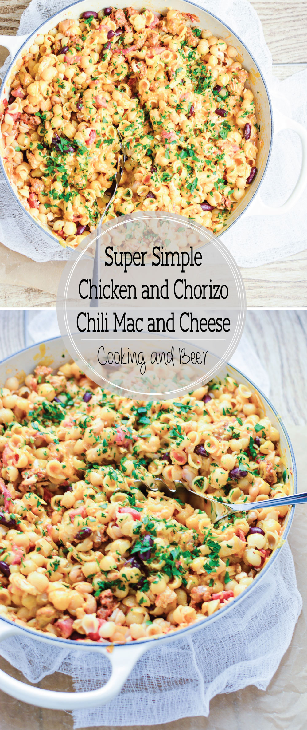 Super Simple Chicken and Chorizo Chili Mac and Cheese is a family-friendly weeknight meal using pantry staples!