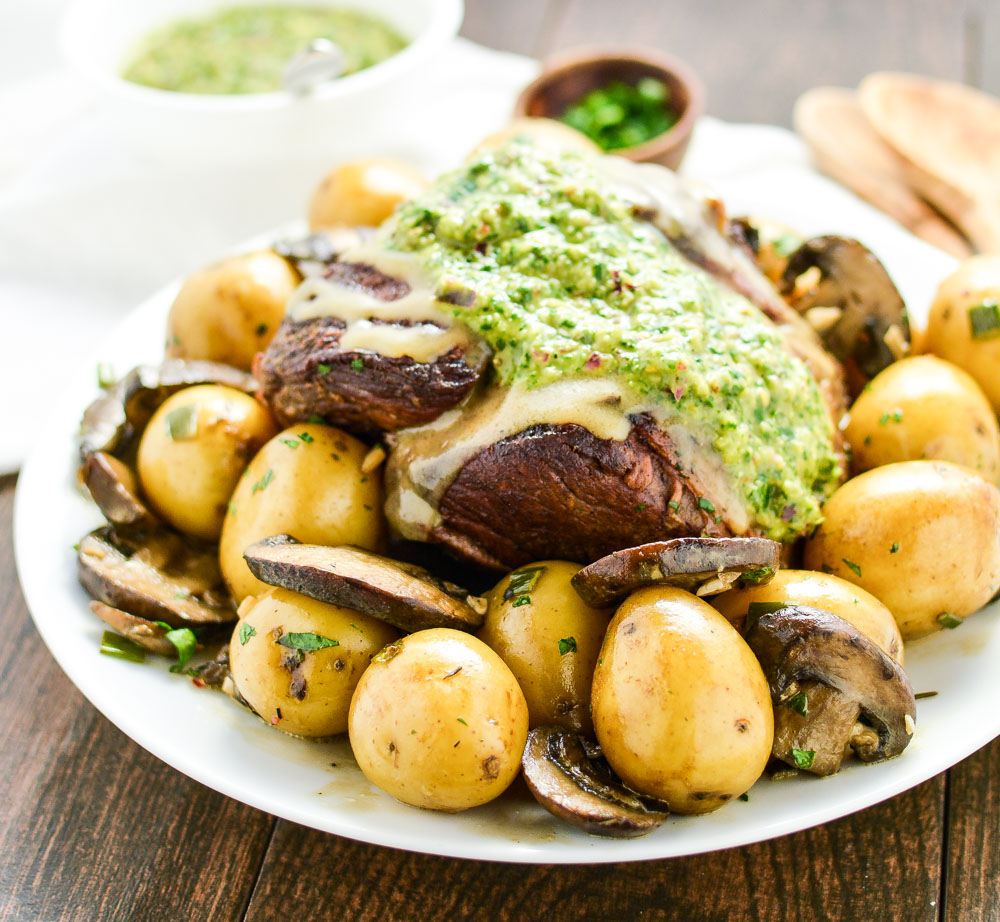 Braised Leg of Lamb with Chimichurri is a comforting and hearty dinner recipe!