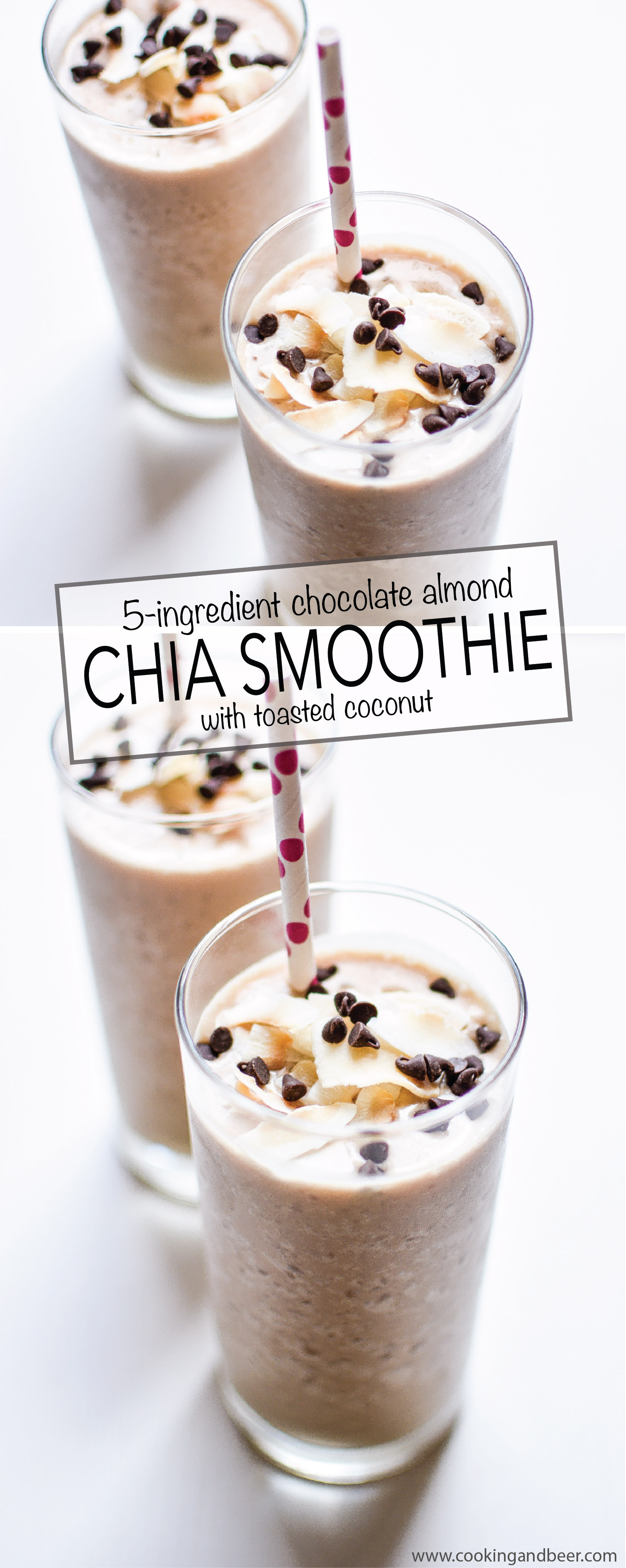 5-Ingredient Chocolate Almond Chia Smoothie with Toasted Coconut
