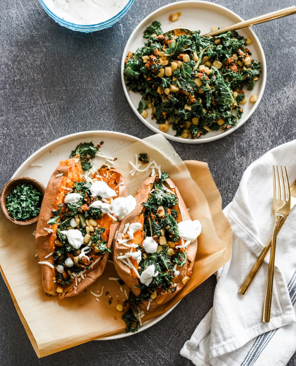 Chorizo-Stuffed Sweet Potatoes with Herbed Sour Cream