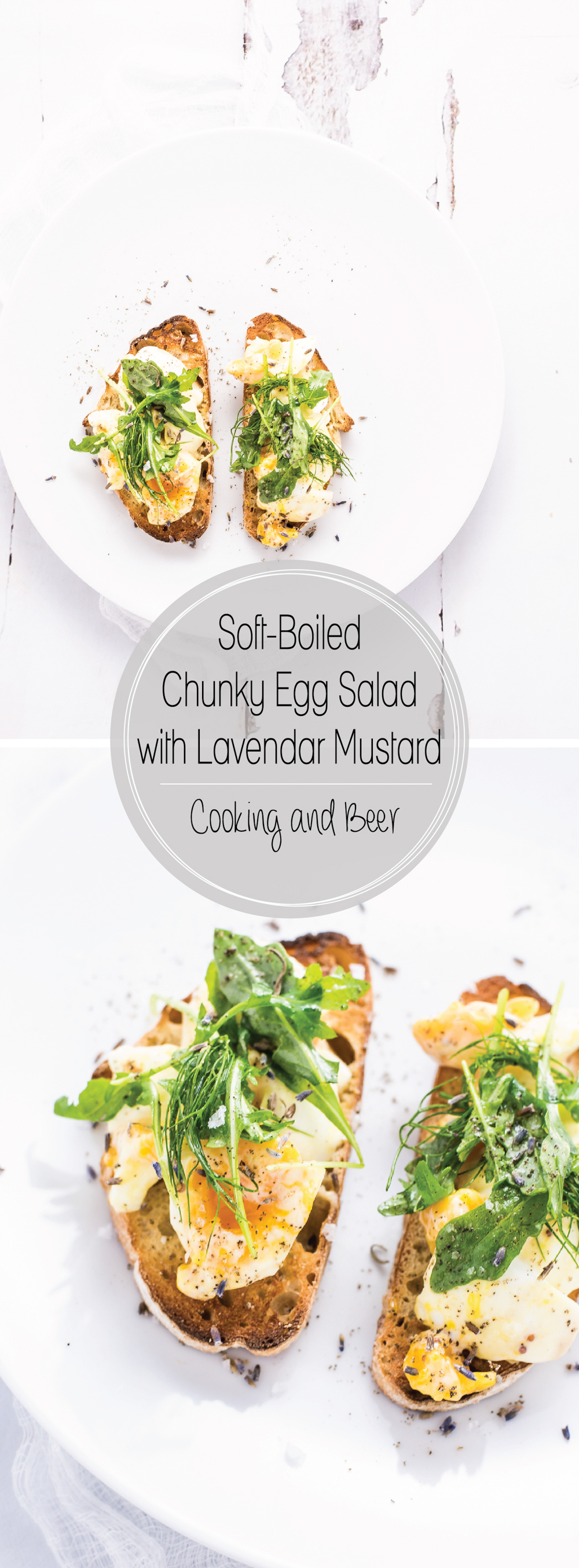 Soft-boiled chunky egg salad with lavender mustard is a fun twist on traditional egg salad, using a mustard mayonnaise and a hint of lavender!