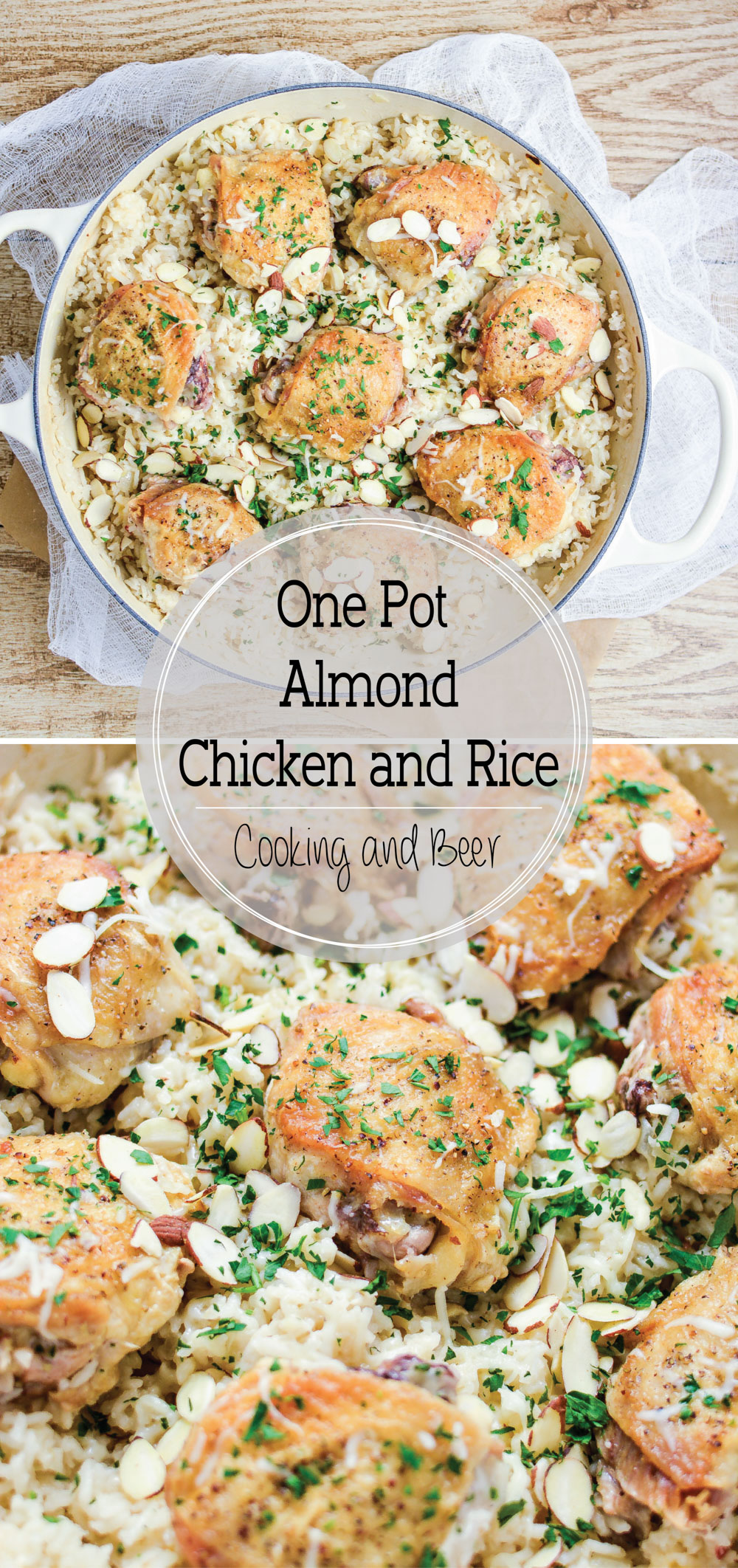 One Pot Almond Chicken and Rice is cheesy, flavorful, and loaded with almond! It's quick and simple, thus making it the perfect weeknight meal!