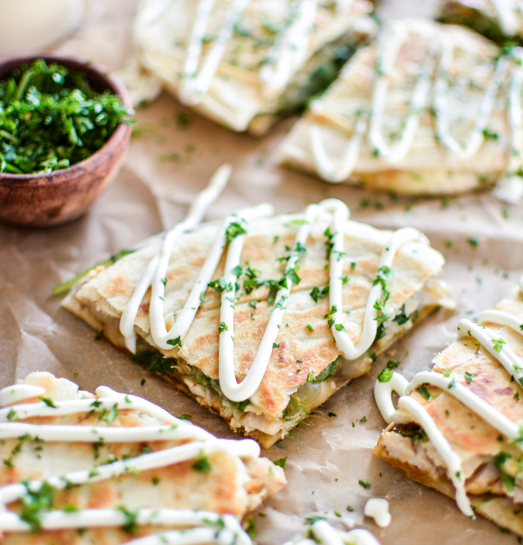 Chicken and Brie Quesadillas with Mango Chutney are the perfect quick appetizer, lunch or dinner recipe! | www.cookingandbeer.com