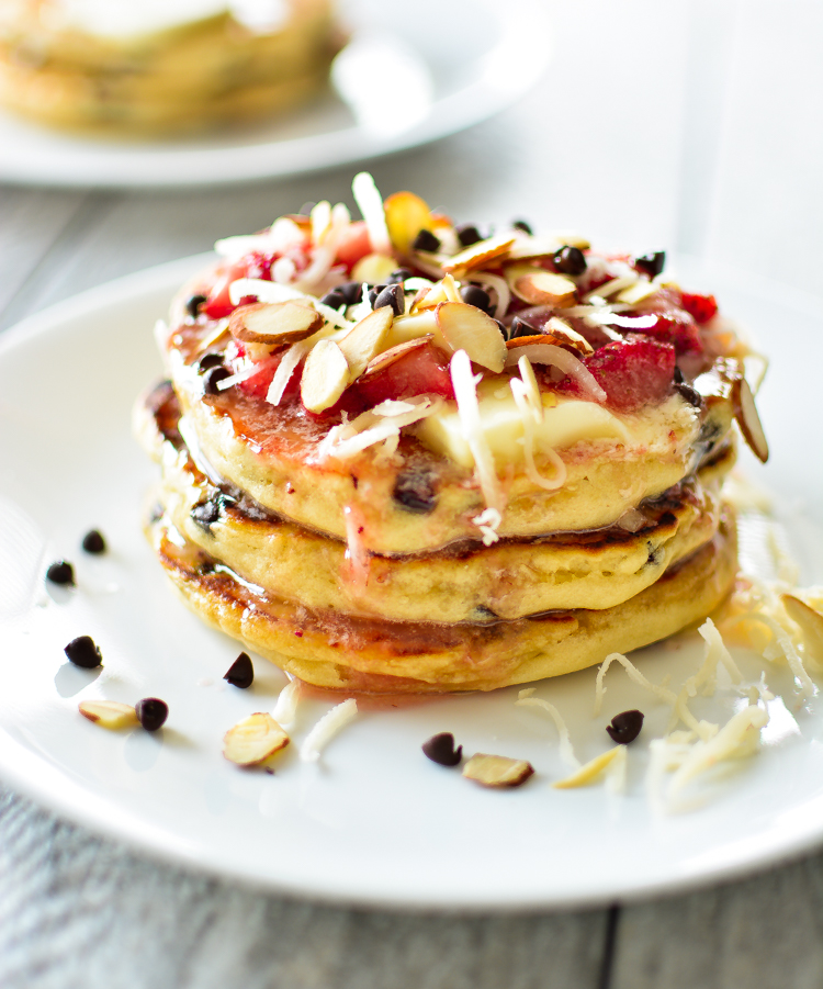 Coconut Chocolate Chip Pancakes With Strawberriescooking And Beer