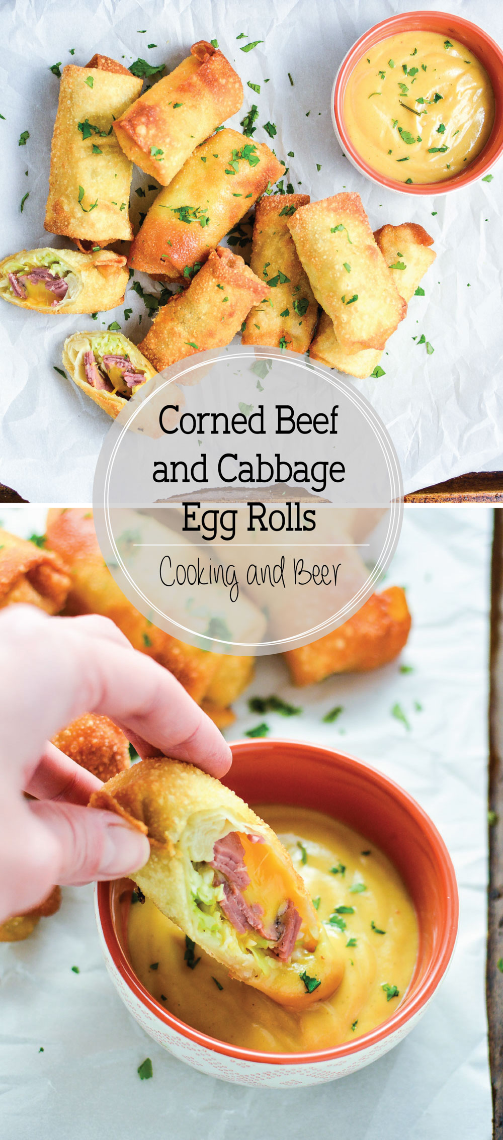 Corned Beef and Cabbage Egg Rolls with Homemade Beer Mustard is the perfect appetizer recipe for St. Patrick's Day!