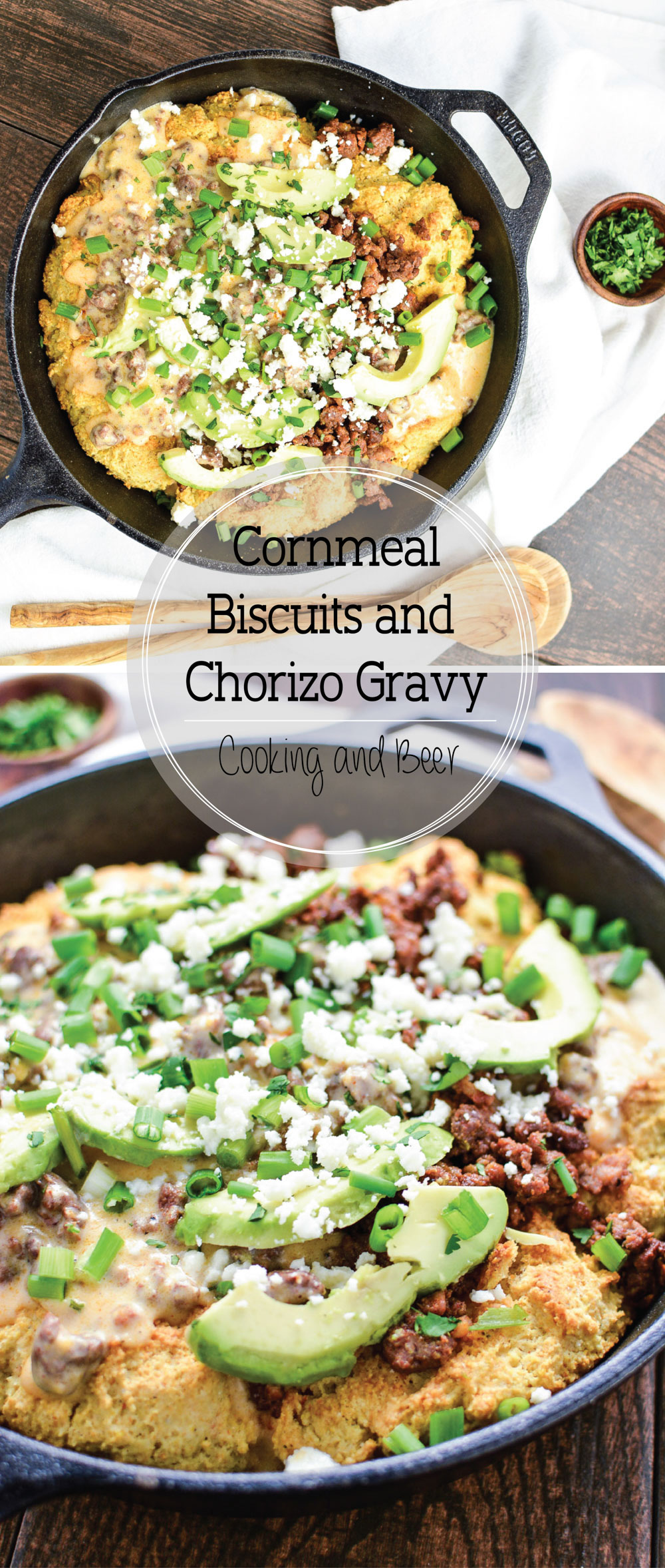 Cornmeal Biscuits and Chorizo Gravy is a fun twist on a classic that's perfect for a quick weeknight meal!