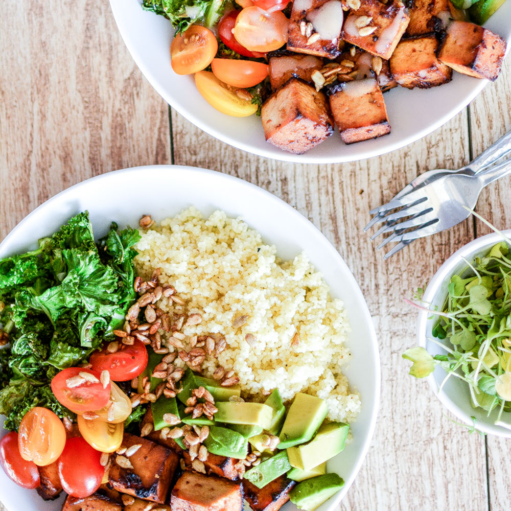Kale and Couscous Tofu Bowls with Orange, Tahini Dressing