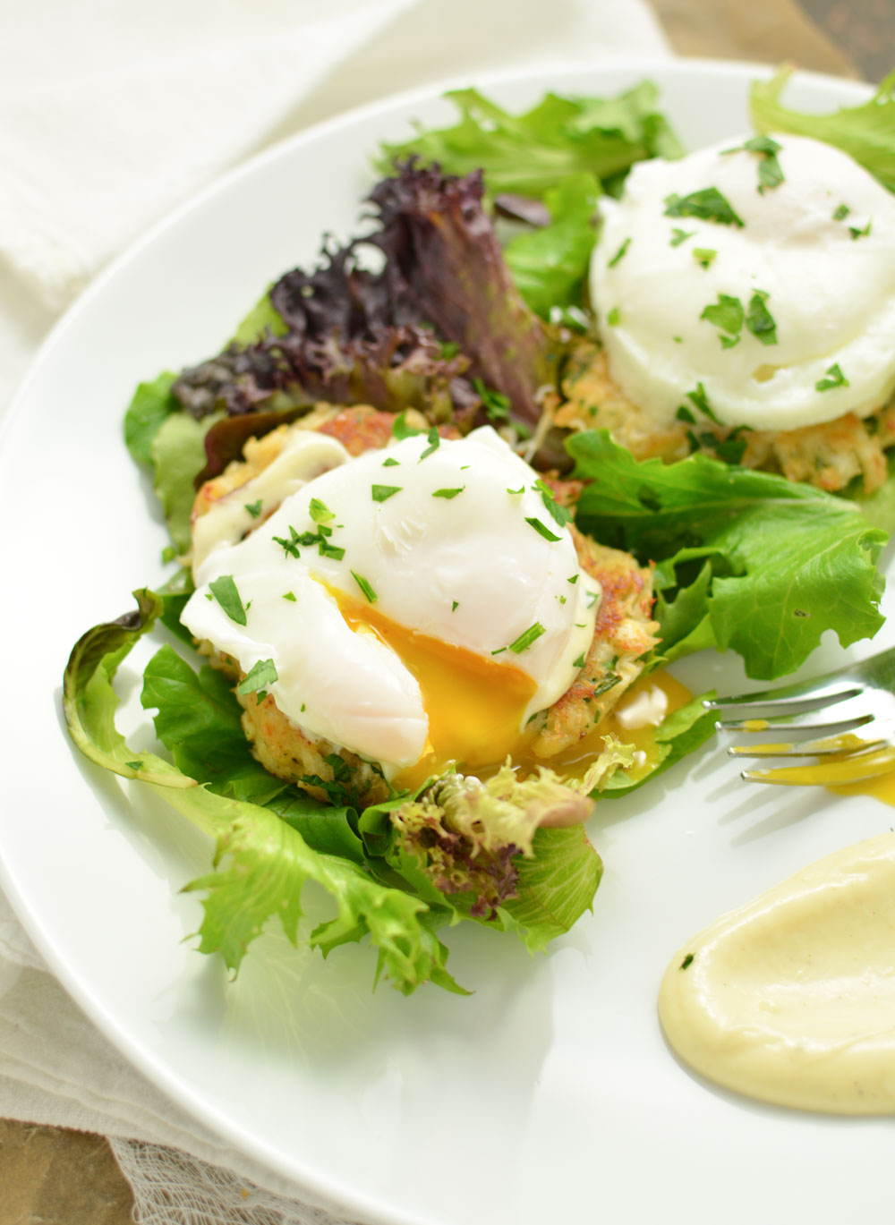 Crab Cake Benedict with Almond-Mustard Sauce is the perfect brunch recipe any time of year!